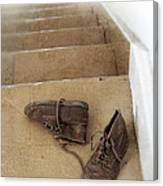 Child's Shoes By Stairs Canvas Print