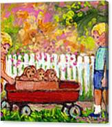 Chilrens Art-boy And Girl With Wagon And Puppies Canvas Print