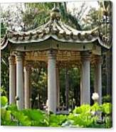 Chinese Pavilion In A Lotus Flower Garden Canvas Print