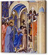 Christ Exorcising A Demon From A Possessed Youth: Illumination From The 15th Century Ms. Of The Tres Riches Heures Of Jean, Duke Of Berry Canvas Print
