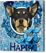 Christmas - Blue Snowflakes Australian Kelpie Canvas Print