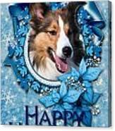 Christmas - Blue Snowflakes Sheltie Canvas Print