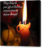 Christmas Candle Peace Greeting  Canvas Print