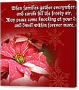 Christmas Card - Red And White Poinsettia Canvas Print