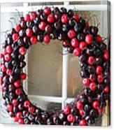 Christmas Cherry Wreath Canvas Print