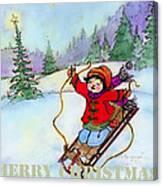 Christmas Joy Child On Sled Canvas Print