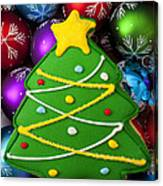 Christmas Tree Cookie With Ornaments Canvas Print