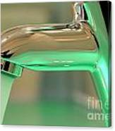 Chrome Sink Tap With Running Water Canvas Print