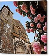 Church And Roses Canvas Print