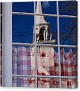 Church In Cafe Window Canvas Print