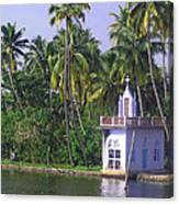 Church Located On A Coastal Lagoon In Kerala In India Canvas Print