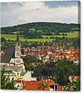 Church Spire In The Old Town Cesky Canvas Print