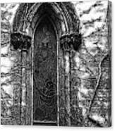 Church Window And Vines Bw Canvas Print