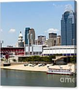 Cincinnati Ohio Skyline And Riverfront Canvas Print