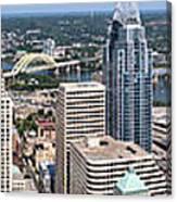 Cincinnati Panorama Aerial Skyline Downtown City Buildings Canvas Print