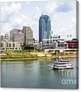 Cincinnati Skyline With Riverboat Photo Canvas Print