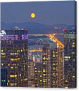 City And Moon Canvas Print