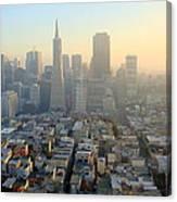 City At Sunset Canvas Print