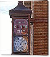 City Clock In Silver City Nm Canvas Print