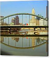City Reflections Through A Bridge Canvas Print