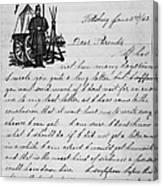 Civil War: Letter, 1862 Canvas Print
