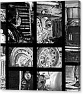 Classic Car Collage In Black And White Canvas Print