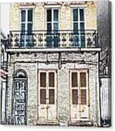 Classic French Quarter Residence New Orleans Colored Pencil Digital Art Canvas Print