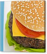 Classic Hamburger With Cheese Tomato And Salad Canvas Print