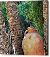 Clay Jar By Palm Tree Canvas Print