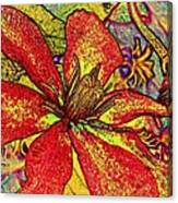 Clematis In Colored Pencil  Canvas Print