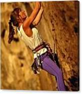 Climber Heidi Badaracco Leads A Route Canvas Print
