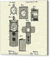Clock Cover 1887 Patent Art Canvas Print
