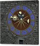 Clocktower In Lucerne On A Stone Tower Canvas Print