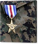 Close-up Of A Medal On The Uniform Canvas Print