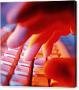 Close-up Of A Person Typing On A Computer Keyboard Canvas Print