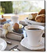 Close Up Of Coffee At Breakfast Table Canvas Print