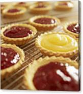 Close Up Of Jam Tarts Cooling On Wire Racks Canvas Print