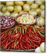 Close View Of Chili Peppers And Other Canvas Print