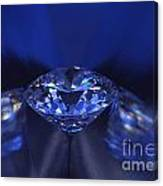 Closeup Blue Diamond In Blue Light. Canvas Print