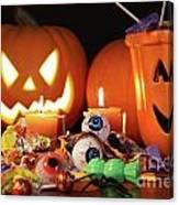 Closeup Of Candies With Pumpkins  Canvas Print