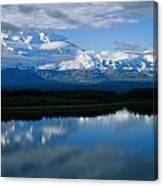 Cloud-enshrouded Mt. Mckinley Reflected Canvas Print