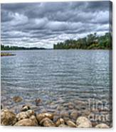 Clouds Over The American River Canvas Print