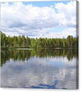 Clouds Trees And Water Canvas Print