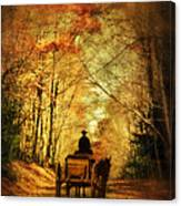 Coach On A Road In Autumn Canvas Print