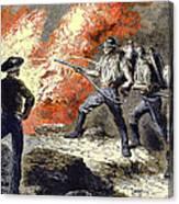 Coal Mine Fire, 19th Century Canvas Print