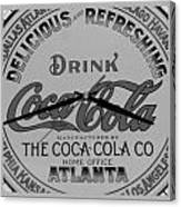 Coca Cola Clock In Black And White Canvas Print
