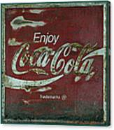 Coca Cola Green Red Grunge Sign Canvas Print