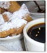 Coffee And Beignets French Quarter New Orleans Canvas Print