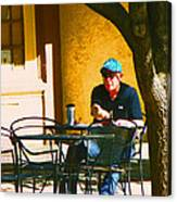 Coffee At The Outdoor Cafe Canvas Print