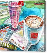 Coffee Break In Agios Nikolaos In Crete Canvas Print